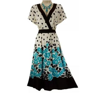 24W 3X▪️POLKA DOT-FLORAL DRESS W/TIE Plus Size